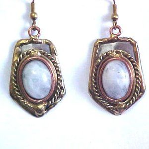 Handmade Mixed Metal Moonstone Earrings